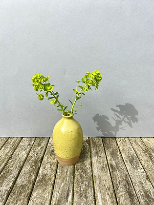 Stoneware bottle vase in yellow speckled glaze