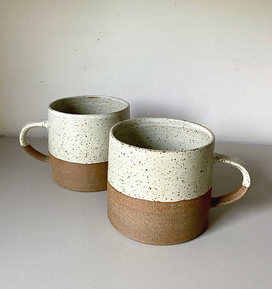 Large Stoneware Mugs in speckled white glaze