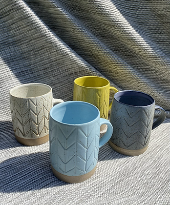 Large Stoneware mugs with herringbone pattern