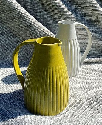 White stoneware Jug in yellow glaze