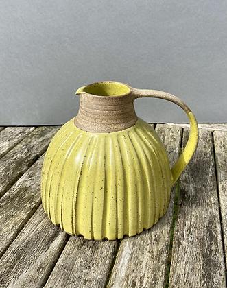 Stoneware Jug in a satin yellow glaze