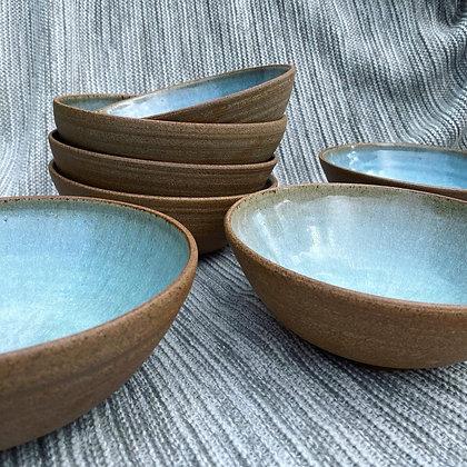 Stoneware soup/pasta/ramen bowls in Chun glaze