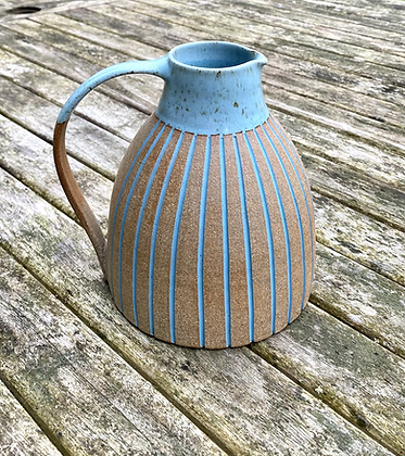 Stoneware Jug with inlaid slip lines in Duck egg blue