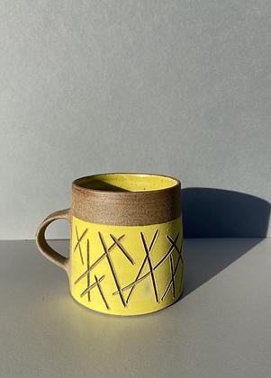 SECOND - Stoneware mug in yellow