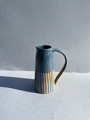 Stoneware Jug with inlaid slipped lines and Deep sea blue glaze