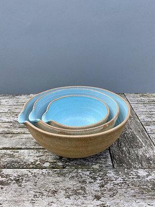 Large set of  three Stoneware pouring bowls