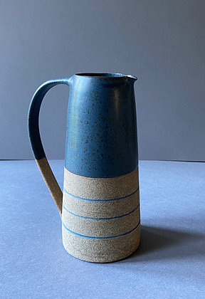 Stoneware Jug with deep sea blue glaze and inlaid slip
