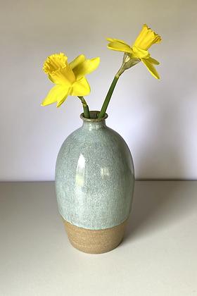 Stoneware bottle vase in Chun glaze