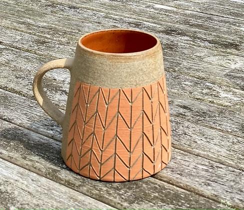 Stoneware Mug with herringbone slip