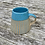 Thumbnail: Stoneware Mug with peacock blue lines