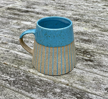 Stoneware Mug with peacock blue lines