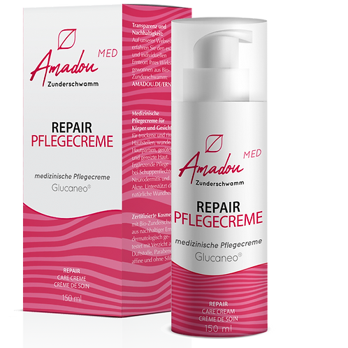 Amadou Zunderschwamm Repair Pflegecreme, 150ml, 0,3% Glucaneo
