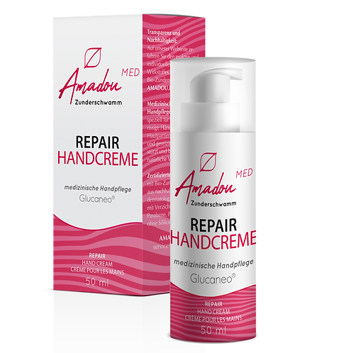 Amadou Zunderschwamm Repair Handcreme, 50 ml, 0,3% Glucaneo