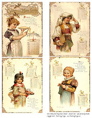 1896 Children's Calendar Journal Cards 1