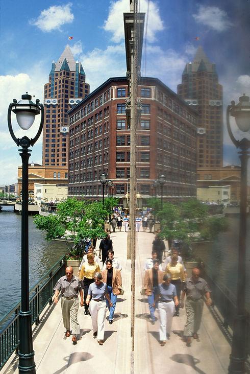 Riverwalk people reflection.JPG