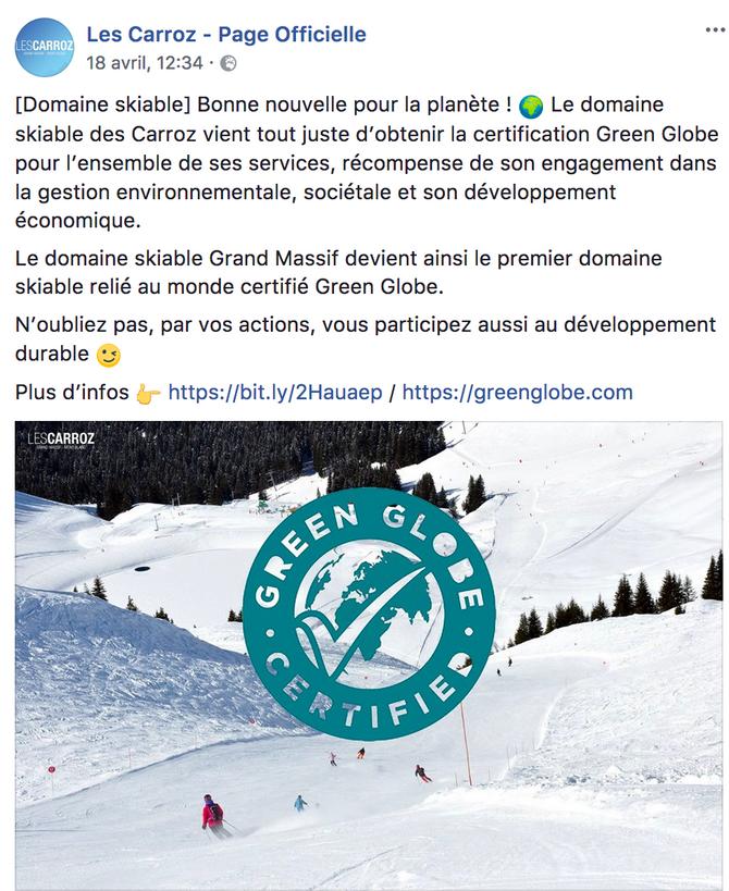 "Les Carroz certifié ""Green Globe"""