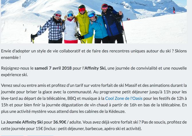 Le 7 avril journée Affinity Ski