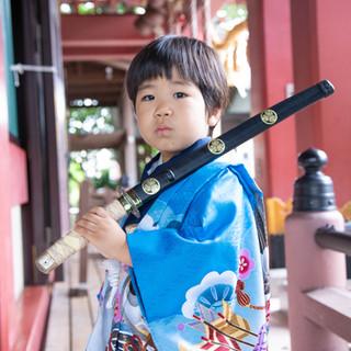 川口市前川神社写真館の男の子着物刀雨