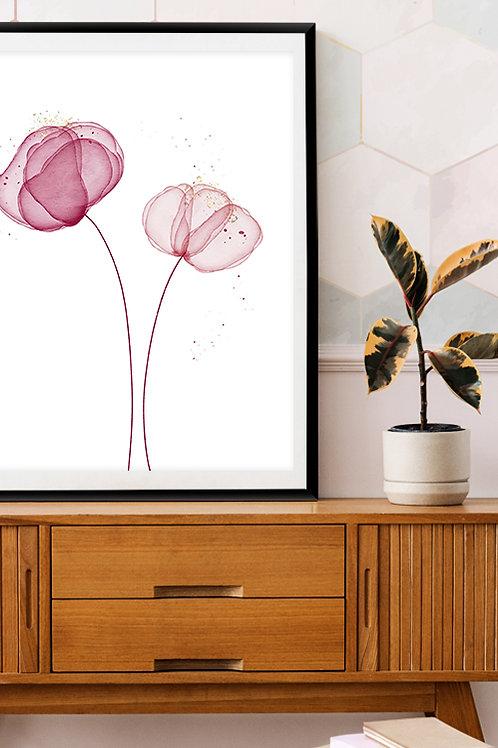 Blush Blooms - Floral watercolor print