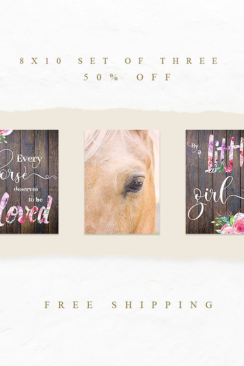 Little Girl and Horse Print Set
