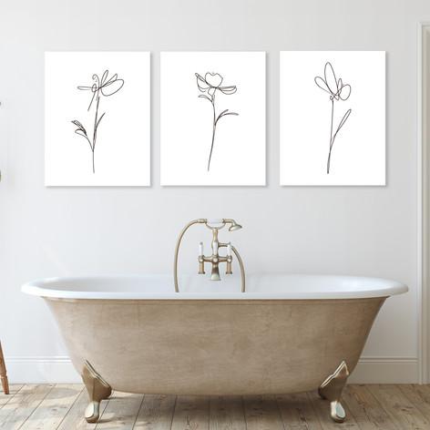 Minimalist Floral Trio