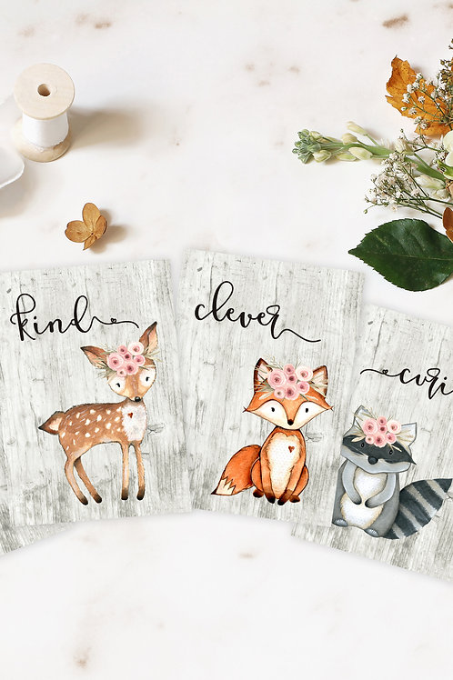 Woodland Animals with Flowers