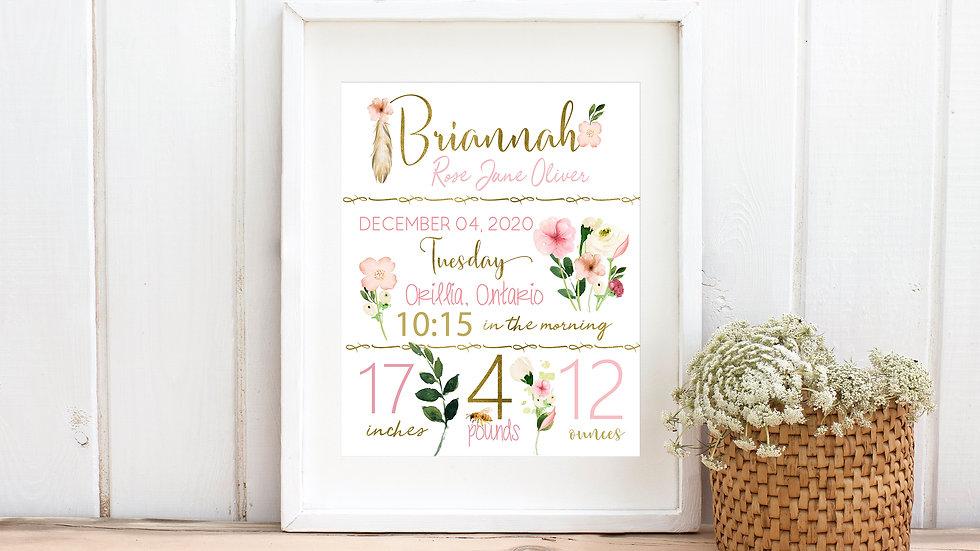 Floral Birth Stat