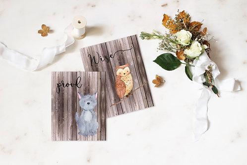 Owl and Wolf Print Set