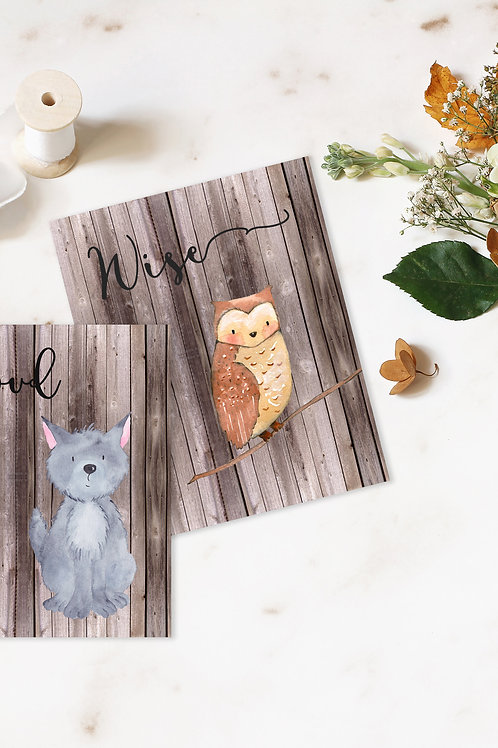Owl and Wolf Print Set