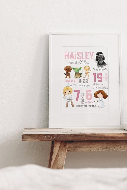 Star Wars Nursery Birth Stat