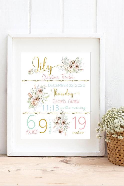 Pastel Floral Birth Stat