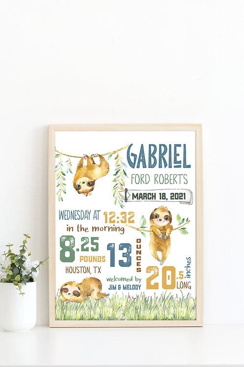 Sloth Nursery Birth Stat