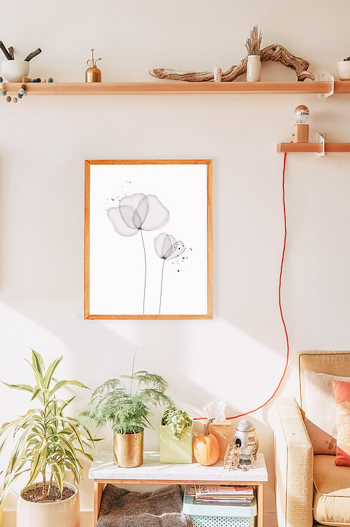 Midnight Blooms - Floral watercolor print