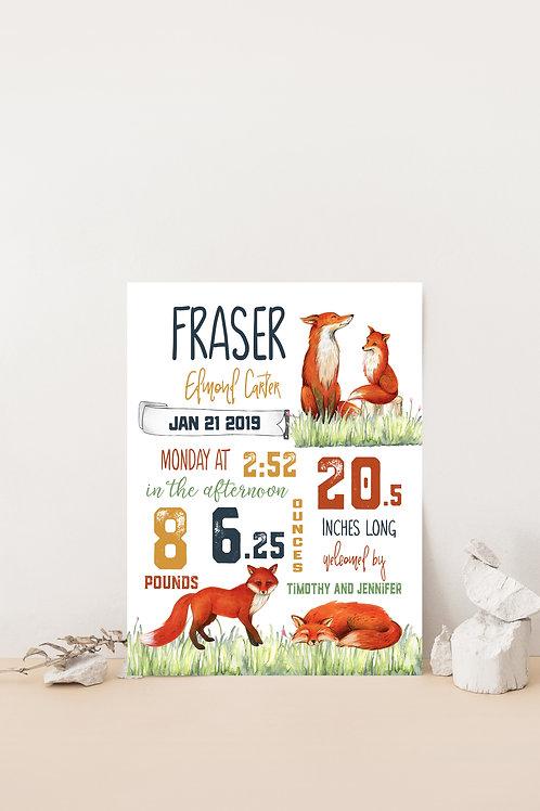Woodland Fox Nursery Birth Stat