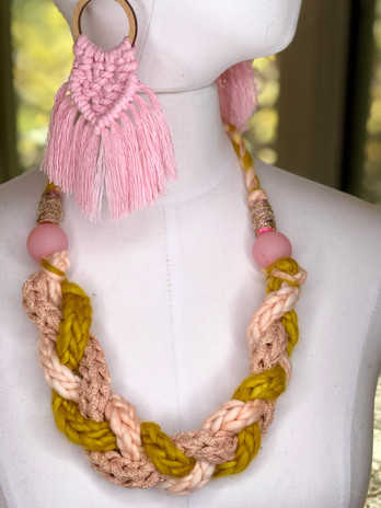 ¡ALEGRIA! necklace paired with ON THE FRINGE earrings.