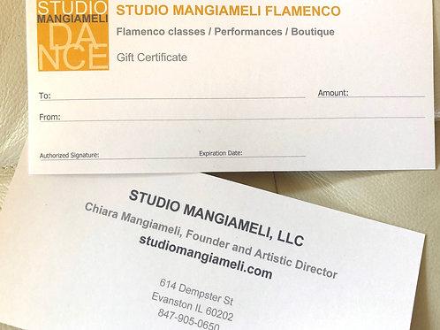 STUDIO MANGIAMELI GIFT CERTIFICATE