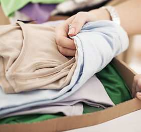 box of donated clothing