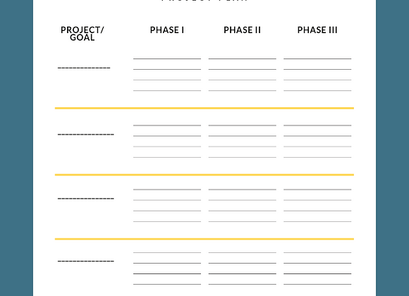 Project and Phases One-Sheet- Strategy will lead to clarity