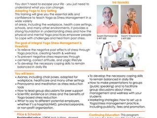 Yoga Teacher Training - Stress Management Course with Swami Ramananda and Swami Vidyananda