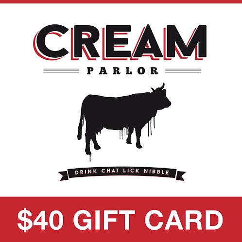 Cream Parlor $40 Gift Card