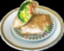 Lunch veggie wrap on porcelain plates