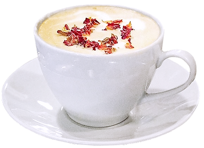 Rose Petal Latte - Breakfast porcelain coffee cup filled with tasty cappuccino coffee with some flower petals on top.