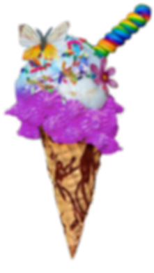 Delicious rainbow ice cream cone with candy butterfly and sprinkles on top.