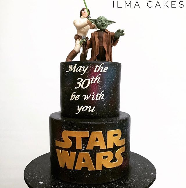 The force is strong in this cake! _Two tier star wars themed 30th birthday cake from the weekend