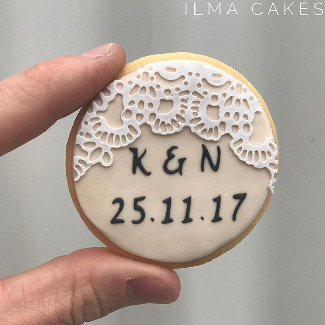 Custom Wedding sugar cookies for a wedding over the weekend with a custom made cookie stencil for th