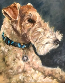 Oil painting of an Airedale Terrier