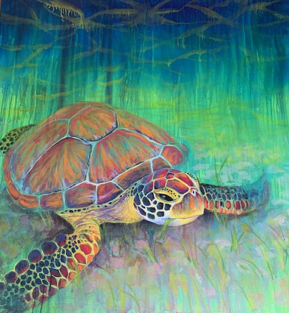 Thrive, acrylic painting of a sea turtle