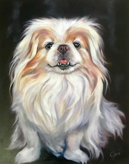 Oil painting of a Pekingese_