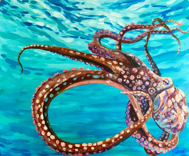 Carribean Octopus, acrylic painting of a