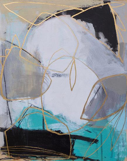Gold Line on Blue I